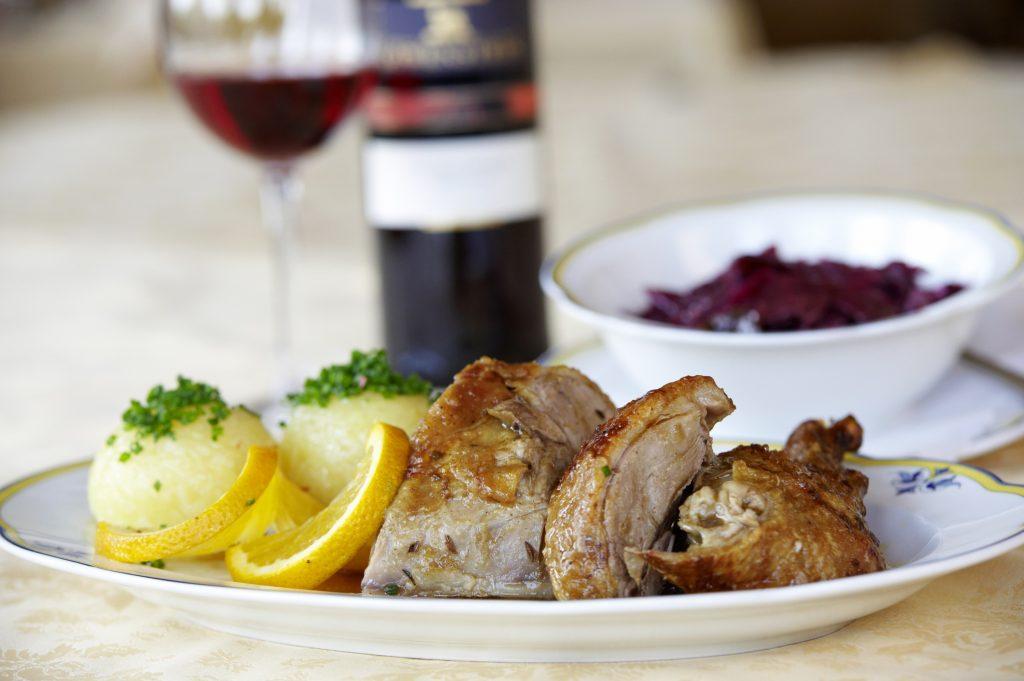 Ente und Wein